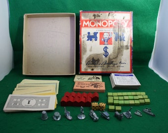 Vintage Monopoly Game - 1946 Edition - Ten Different Tokens w/Wooden Houses and Hotels