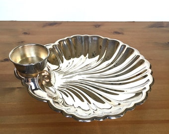 Vintage silver plate shell serving tray elegant snack shrimp and dip