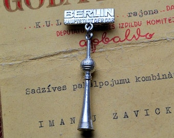 Germany television tower//DDR badge//Vintage Brooch //DDR 70's //Berlin//Tower//Germany  pin//Badge//Soviet propaganda//Democratic Germany//