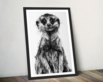 Meerkat Art Print, Meerkat Framed Wall Art, Meerkat Illustration, Meerkat Print, Meerkat Gift for New Home, Meerkat Wall Hanging Art Decor
