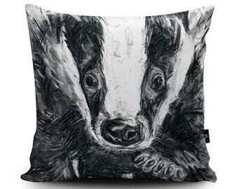 Badger Cushion, Badger Pillow, Wildlife Cushion, Black White Badger Illustration, Badger Home Decor, Hufflepuff Gift, Faux Suede Cushion