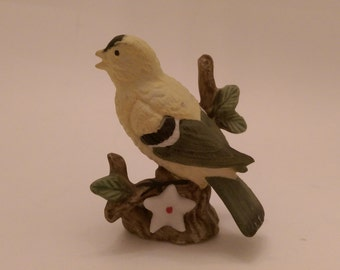 Delicate Gold Finch on Branch with White Flower Lefton ?