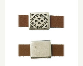 On Sale NOW 25%OFF Square Tribal Embossed Sliders For 5-10mm Flat Leather Cord Antique Silver Z2517 Qty 2