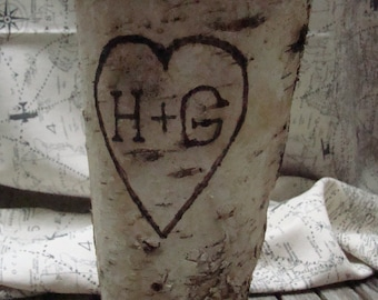 Birch Vase, Personalized Vase, Monagram, Heart