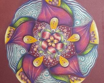 Elementals mandala fine art print of high quality pencil drawing on pastelmat floral mandala in purple, yellows and green