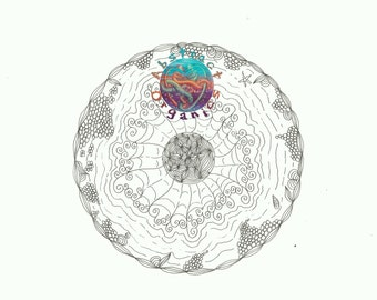 Mooncentred Mandala adult colouring page, colour in page, moon and swirls PDF download, moonlight colouring, art therapy, relaxing art