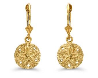 14k solid gold sand dollar lever earrings. nautical earrings, sea life jewelry