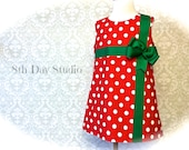 Girls Christmas Dress, Toddlers Christmas Dress, Red with White Polka Dots, Green Bow, Sizes 2T - 8 by 8thDayStudio