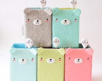 Kawaii Bear Pencil Holder w/ Tiny Obake Ghost Pin Needle (MADE TO ORDER)