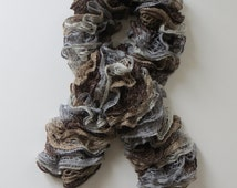 Ruffle scarf, Frilly scarf, Knitted scarf, Fashion scarf, Mother's Day gift, Autumn,  Winter Accesories, Autumn Fashion, grey, brown, gifts