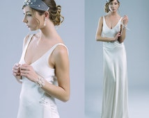 Nocturne bias cut pure silk gown wedding dress 20's style bare back