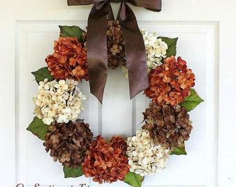 Hydrangea Wreath - Fall Wreath - Wreaths for fall - door wreath - fall wreath - Wreaths for door - Wreaths Autumn Wreath