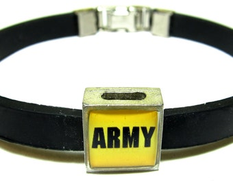 Military Army Link With Choice Of Colored Band Charm Bracelet