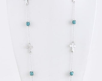 Cross/Turquoise Silver Necklace & Earrings Set