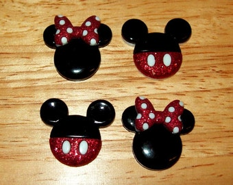 Disney Mickey Mouse Head Buttons, with Glitter, for Sewing, Scrapbook, or Cards, Set of 4