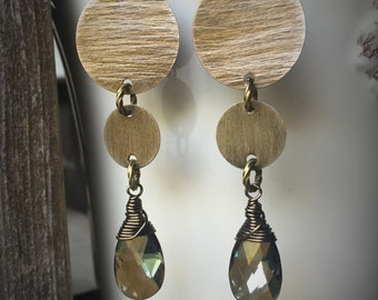 Brass Textured Circle Earrings With Wire Wrapped Bronze Shaded Swarovski Crystal Briolette's