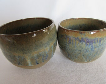 Tea Bowls - Stoneware - Pair of Multicolor