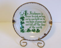 Vintage Ceramic Ashtray Irish Home Decor Unique Novelty Shamrock Gifts Green And White Coffee Table Accessories