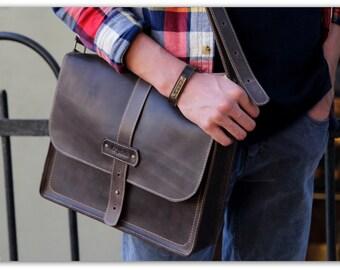 Coffee brown mens messenger bag leather / Horizontal vertical laptop bag / Computer bag / Leather messenger bag men / Personalization