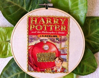 Embroidery hoop wall art/Harry Potter and the Philosopher's Stone book cover embroidery hoop art/HP1 stitching/literature embroidery