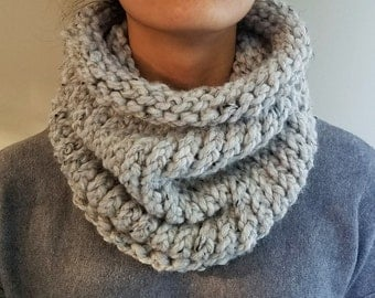 Chunky Scarf, Knit Cowl Neckwarmer, Grey Marble, Fashion Accessory, Gift For Her