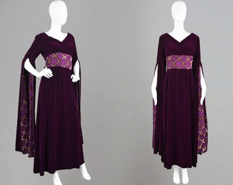 Vintage 70s TROUBADOUR Oriental Dress Kimono Dress Obi Belt Renaissance Dress British Demi Couture Medieval Style Velvet Evening Gown 1970s