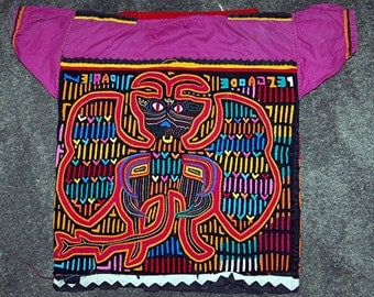 Vintage Child's Mola Blouse from Kuna Indians San Blas Islands, Panama  50 + Years Old