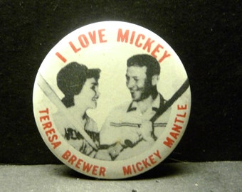Final Clearance- 1980 I Love Mickey Pin/Button  - Reproduction of 1956 pin