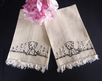 Vintage Embroidered Linen Guest Towel with Puppies