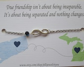 Best friend Long distance bracelet - Infinity Charm Bracelet - Friendship Going Away - Best friend gift - State to State -  Graduation Gift