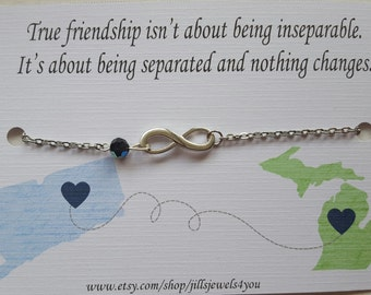 Long distance friendship bracelet, best friend distance, Going away, State to State, Best Friend Gift, Graduation Gift, Wanderlust