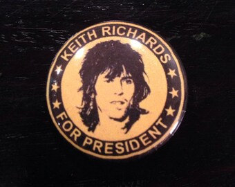 """Small 1-1/4"""" Keith Richards For President button"""
