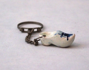 Vintage Ceramic Dutch Shoe Hand Painted Keychain Very Old Unique Holland Collectible