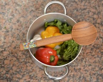 Handmade Beaded wooden spoon, wooden cooking utensil, serving spoon, wood spoon
