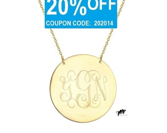 """Monogram necklace - personalize gold monogram necklace 1.25"""" gold plated 18k on .925 silver"""