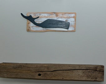 "Large ""blue"" Whale mounted on a Driftwood backing #168"