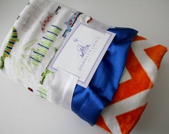 See ya Later Alligator Print with Orange and White Chevron and Gator Blue Satin Trim Minky Blanket - Baby boy or girl, Crib Bedding, Nursery