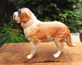 Vintage Paint By Numbers Dog Model - Bachmann Dogs of the World Saint Bernard -  1950's Plastic St. Bernard Model