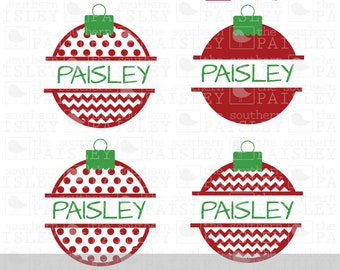 Split Christmas Ornaments - .svg/.eps/.dxf/.ai for Silhouette Studio, Cricut, or other cutting software