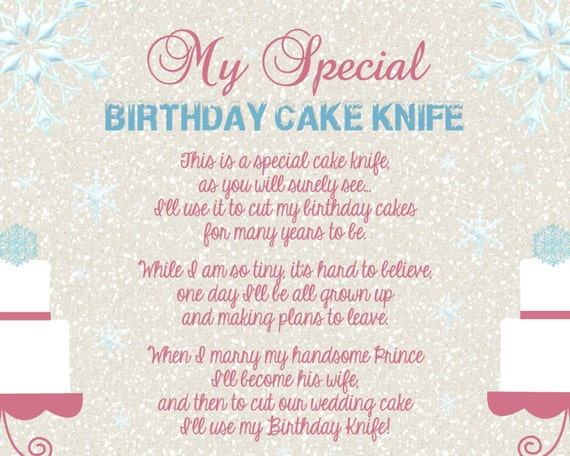 wedding cake knife poem frozen winter girly baby shower birthday cake knife 23025