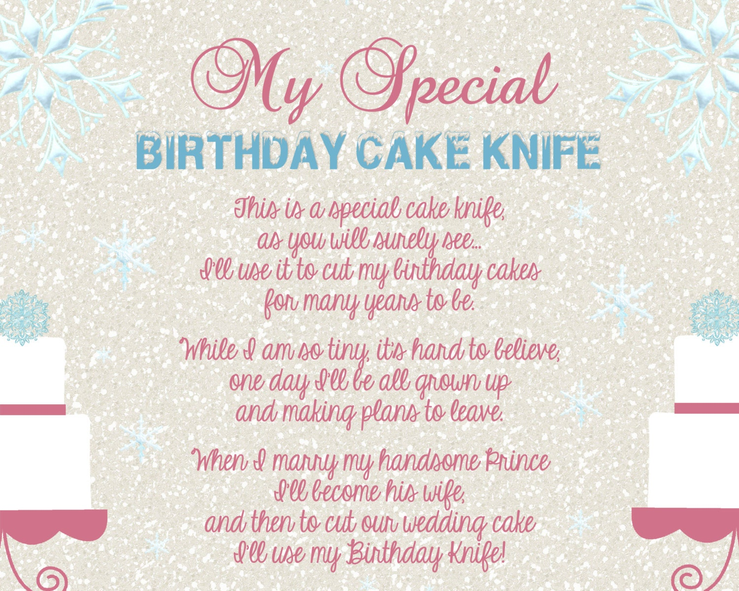 frozen winter wonderland girly baby shower birthday cake knife. Black Bedroom Furniture Sets. Home Design Ideas