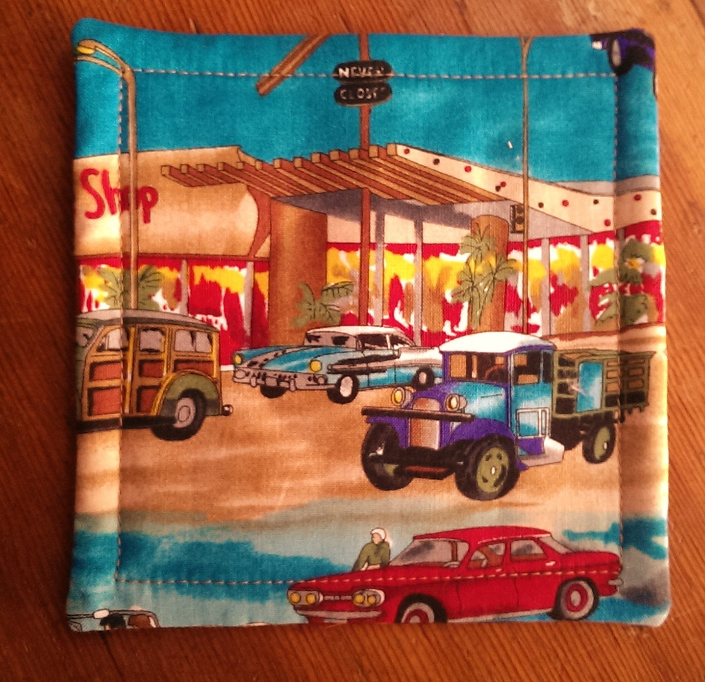 Quilted Mug Rug Drink Mat. 50's Car Enthusiasts Old