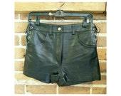 Vintage high waist black leather shorts- adjustable waist leather hot pants NWT
