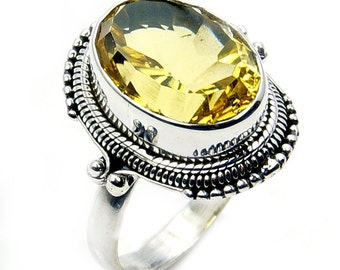 Forever Sunshine Citrine & .925 Sterling Silver Ring Size 7.5 Jewelry , X686 The Silver Plaza