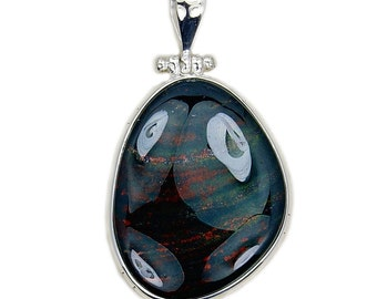 Large Rare Natural Bloodstone & .925 Sterling Silver Pendant , AD937