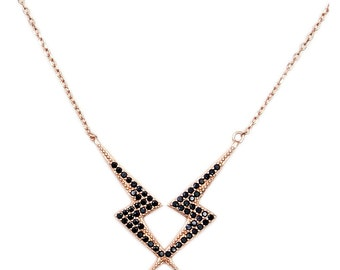 Black CZ, .925 Sterling Silver & Rose Gold Lightning Bolts Necklace  Jewelry , AC994