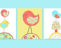 Aqua Coral Yellow Bird Nursery Art, Baby Girl Nursery Decor, Baby Shower Gift, Set of 3 Prints, Birds Stacked Chevron, Trio, Bird Canvas Art