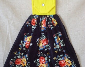 Flower Kitchen Towel, Handmade Topper, Snap Closure, Bright Flowers, Black Background, Roses, Yellow,