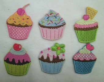 Wholesale LOT  24PCS  Multi  cupcake Embroidered Iron on Sew on Applique Patches