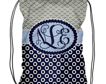 Personalized Drawstring Backpack  -Cinch Sack. -Monogrammed Gym Bag -  Design Your Own -Cheer